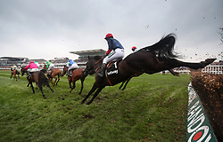 Black Corton ridden by Bryony Frost , clears a fence in the Betway Mildmay Novices' Chase during Ladies Day of the 2018 Randox Health Grand National Festival at Aintree Racecourse, Liverpool.