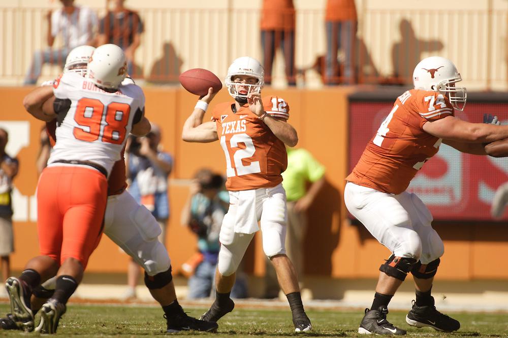 Colt McCoy, quarterback, Texas Longhorns. Oklahoma State Cowboys at Texas Longhorns. Darrell K. Royal-Texas Memorial Stadium, Austin, TX, October 26 2008. Photograph © 2008 Darren Carroll.