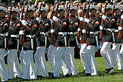 United States soldiers in ceremonial march at The White House, Washington DC, United States of America