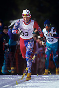 LILLEHAMMER, NORWAY - FEBRUARY:  Six time olympic medalist Vegard Ulvang, races to the finish of the 50 km during the 1994 Winter Olympics. (Photo by John Kelly/Getty Images)