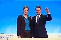 17 JAN 2009, BERLIN/GERMANY:<br /> Dr. Silvana Koch-Mehrin (L), MdEP, Vorsitzende der FDP im Europaparlament, und Guido Westerwelle (R), FDP Bundesvorsitzender, Europaparteitag der FDP, Estrel Convention Center<br /> IMAGE: 20090117-01-003<br /> KEYWORDS: party congress