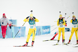 February 12, 2018 - Pyeongchang, SOUTH KOREA - 180212  Mona Brorsson, Elisabeth HÅ¡gberg and Linn Persson of Sweden competes in the Women's Biathlon 10km Pursuit during day three of the 2018 Winter Olympics on February 12, 2018 in Pyeongchang..Photo: Jon Olav Nesvold / BILDBYRN / kod JE / 160156 (Credit Image: © Jon Olav Nesvold/Bildbyran via ZUMA Press)