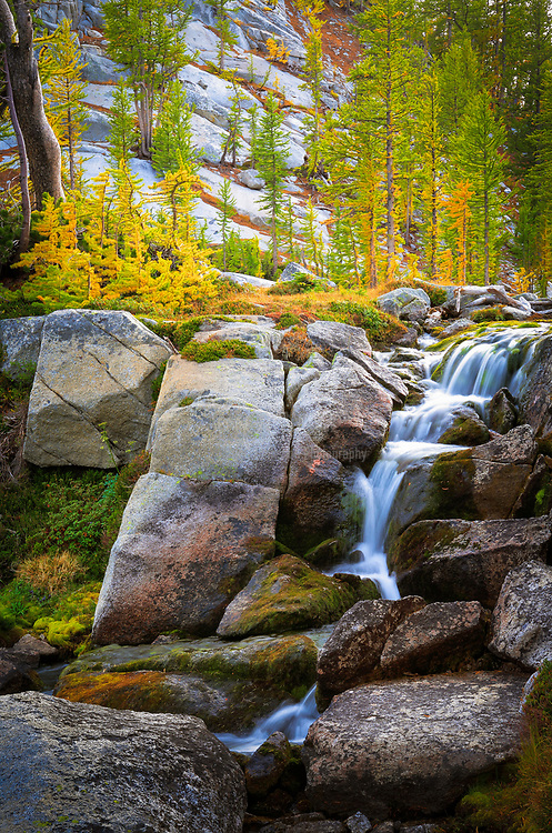 Small waterfall between Perfection and Leprechaun lakes in the Enchantment Lakes area of Alpine Lakes Wilderness, Washington