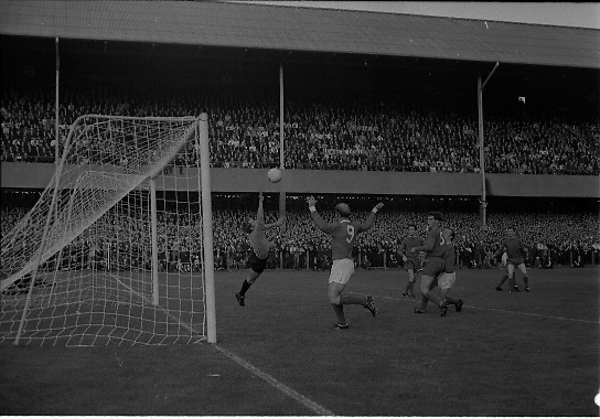 Waterford FC vs Manchester United at Lansdowne Road..1968..18.09.1968..09.18.1968..18th September 1968..Waterford FC as champions of the league of Ireland drew Manchester United, the European Champions,in the first round of this years competition.The Waterford team was as follows: Peter Thomas, Peter Bryan, Noel Griffin, Vinny Maguire, Jackie Morley, Jimmy McGeough, Al Casey, Alfie Hale, John O'Neill, Shamie Coad and Johnny Matthews. Manchester United won the tie 3 -1 with Denis Law being the man of the match..Alex Stepney,Tony Dunne,Francis Burns,Paddy Crerand,.Bill Foulkes,Nobby Stiles,George Best,Denis Law,.Bobby Charlton,David Sadler,Brian Kidd were the starting eleven for United...Picture shows Bobby Charlton celebrating as the ball beats keeper Peter Thomas to open the scoring for United.