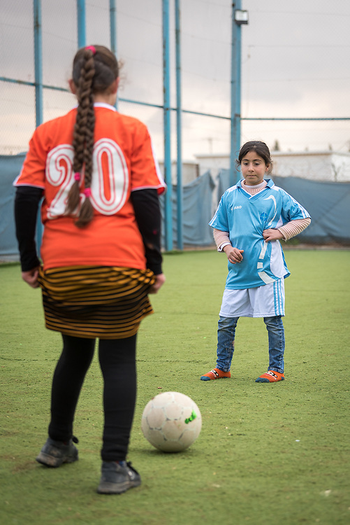 20 February 2020, Za'atari Camp, Jordan: A girl waits for her opponent to make the first move during football practice for girls in the Peace Oasis, a Lutheran World Federation space in the Za'atari Camp where Syrian refugees are offered a variety of activities on psychosocial support, including counselling, life skills trainings and other activities.