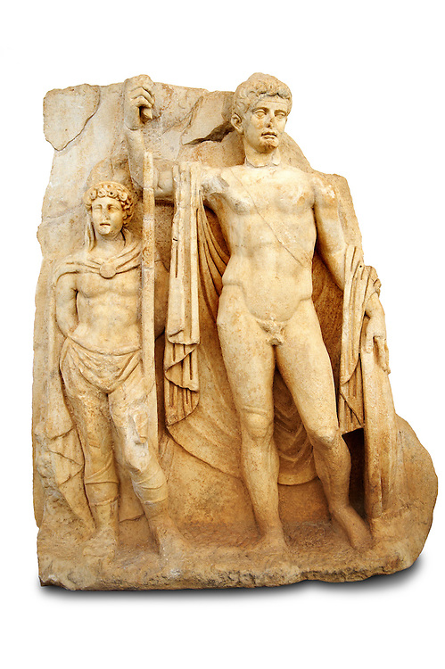 Photo of Roman releif sculpture of Emperor Tiberius with captive About to vanquish Britanica from Aphrodisias, Turkey, Images of Roman art bas releifs. Buy as stock or photo art prints.  Emperor Tiberius stands with a barbarian captive depicted half the height of Tiberius. Cut Out .<br /> <br /> If you prefer to buy from our ALAMY STOCK LIBRARY page at https://www.alamy.com/portfolio/paul-williams-funkystock/greco-roman-sculptures.html . Type -    Aphrodisias     - into LOWER SEARCH WITHIN GALLERY box - Refine search by adding a subject, place, background colour, museum etc.<br /> <br /> Visit our ROMAN WORLD PHOTO COLLECTIONS for more photos to download or buy as wall art prints https://funkystock.photoshelter.com/gallery-collection/The-Romans-Art-Artefacts-Antiquities-Historic-Sites-Pictures-Images/C0000r2uLJJo9_s0
