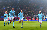 Tosin Adarabioyo of Manchester City, Lukas Nmecha of Manchester City and Bernardo Silva of Manchester City ® celebrate after they win the match in a penalty shootout. Carabao Cup quarter final match, Leicester City v Manchester City at the King Power Stadium in Leicester, Leicestershire on Tuesday 19th December 2017.<br /> pic by Bradley Collyer, Andrew Orchard sports photography.