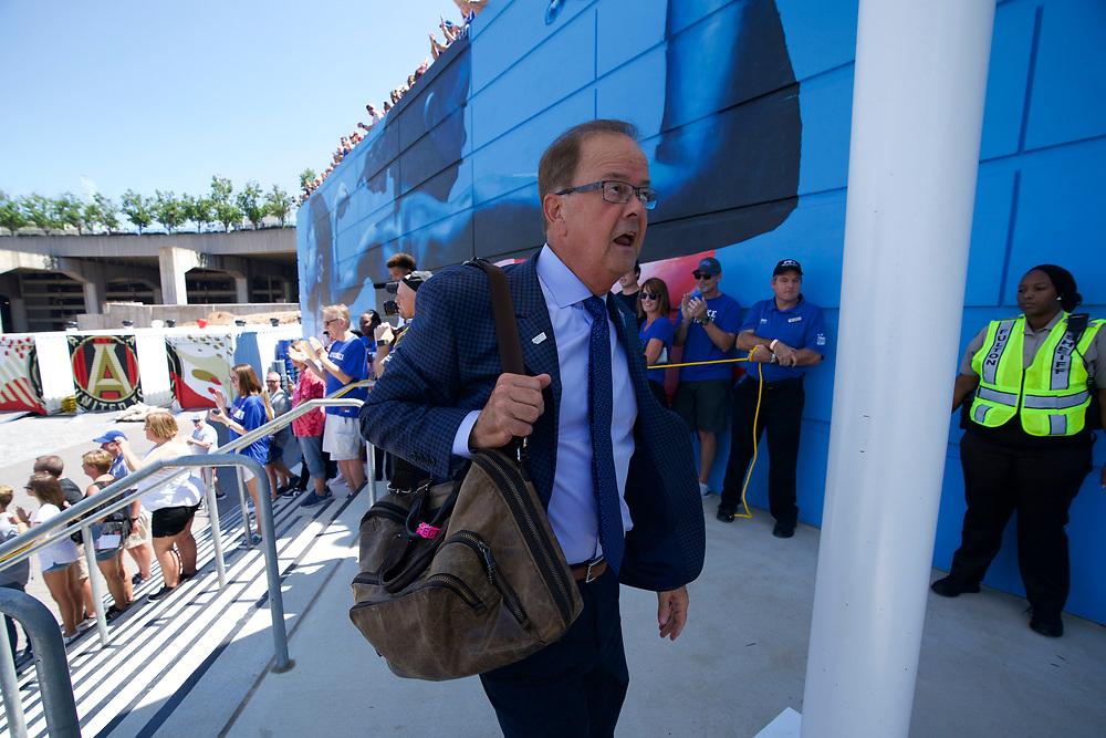 Duke Blue Devils team walk prior to the Chick-fil-A Kickoff Game at the Mercedes-Benz Stadium, Saturday, August 31, 2019, in Atlanta. Alabama won 42-3. (Paul Abell via Abell Images for Chick-fil-A Kickoff)