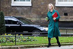"© Licensed to London News Pictures. 18/12/2018. London, UK. Liz Truss - Chief Secretary to the Treasury arrives in Downing Street for the weekly Cabinet meeting. The Cabinet will discuss the preparations for a ""No Deal"" Brexit. Photo credit: Dinendra Haria/LNP"