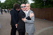 DAMIEN HIRST; STEVE LAZARIDES, 2009 Serpentine Gallery Summer party. Sponsored by Canvas TV. Serpentine Gallery Pavilion designed by Kazuyo Sejima and Ryue Nishizawa of SANAA. Kensington Gdns. London. 9 July 2009.