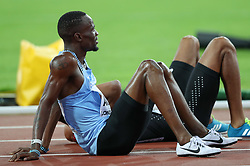 London, August 08 2017 . Nijel, Botswana rests after coming 5th in the men's 800m final on day five of the IAAF London 2017 world Championships at the London Stadium. © Paul Davey.