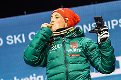 22.02.2019, Medal Plaza, Seefeld, AUT, FIS Weltmeisterschaften Ski Nordisch, Seefeld 2019, Nordische Kombination, Siegerehrung, im Bild Weltmeister und Goldmedaillengewinner Eric Frenzel (GER) // World champion and gold medalist Eric Frenzel of Germany during the winner Ceremony for the Nordic Combined competition of FIS Nordic Ski World Championships 2019 at the Medal Plaza in Seefeld, Austria on 2019/02/22. EXPA Pictures © 2019, PhotoCredit: EXPA/ Dominik Angerer