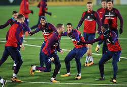 Left to right, England's Harry Winks, Gary Cahill, Ryan Bertrand, Jordan Henderson, Jake Livermore, Eric Dier, John Stones, Daniel Sturridge and Harry Maguire during the training session at the LFF Stadium, Vilnius.