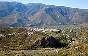 The town of Orgiva in its valley, Alpujarras, Sierra Nevada, Spain
