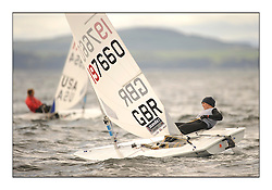 Charlotte Dobson, GBR 197660.Opening races in breezy conditions for the Laser Radial World Championships, taking place at Largs, Scotland GBR. ..118 Women from 35 different nations compete in the Olympic Women's Laser Radial fleet and 104 Men from 30 different nations. .All three 2008 Women's Laser Radial Olympic Medallists are competing. .The Laser Radial World Championships take place every year. This is the first time they have been held in Scotland and are part of the initiaitve to bring key world class events to Britain in the lead up to the 2012 Olympic Games. .The Laser is the world's most popular singlehanded sailing dinghy and is sailed and raced worldwide. ..Further media information from .laserworlds@gmail.com.event press officer mobile +44 7775 671973  and +44 1475 675129 .