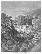 The Walls of Jericho Fall Down Joshua 6:20 From the book 'Bible Gallery' Illustrated by Gustave Dore with Memoir of Dore and Descriptive Letter-press by Talbot W. Chambers D.D. Published by Cassell & Company Limited in London and simultaneously by Mame in Tours, France in 1866
