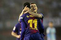FC Barcelona's Ousmane Dembele (l) and Philippe Coutinho celebrate goal during La Liga match. April 17,2018. (ALTERPHOTOS/Acero)
