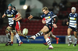 Bristol Rugby Winger Charlie Amesbury clears the ball upfield - Mandatory byline: Dougie Allward/JMP - 22/01/2016 - RUGBY - Ashton Gate -Bristol,England - Bristol Rugby v Ulster Rugby - B&I Cup