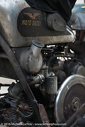 Giuseppe Savorettii's (Italy) 1931 Moto Guzzi after Stage 7 of the Motorcycle Cannonball Cross-Country Endurance Run, which on this day ran from Sedalia, MO to Junction City, KS., USA. Thursday, September 11, 2014.  Photography ©2014 Michael Lichter.