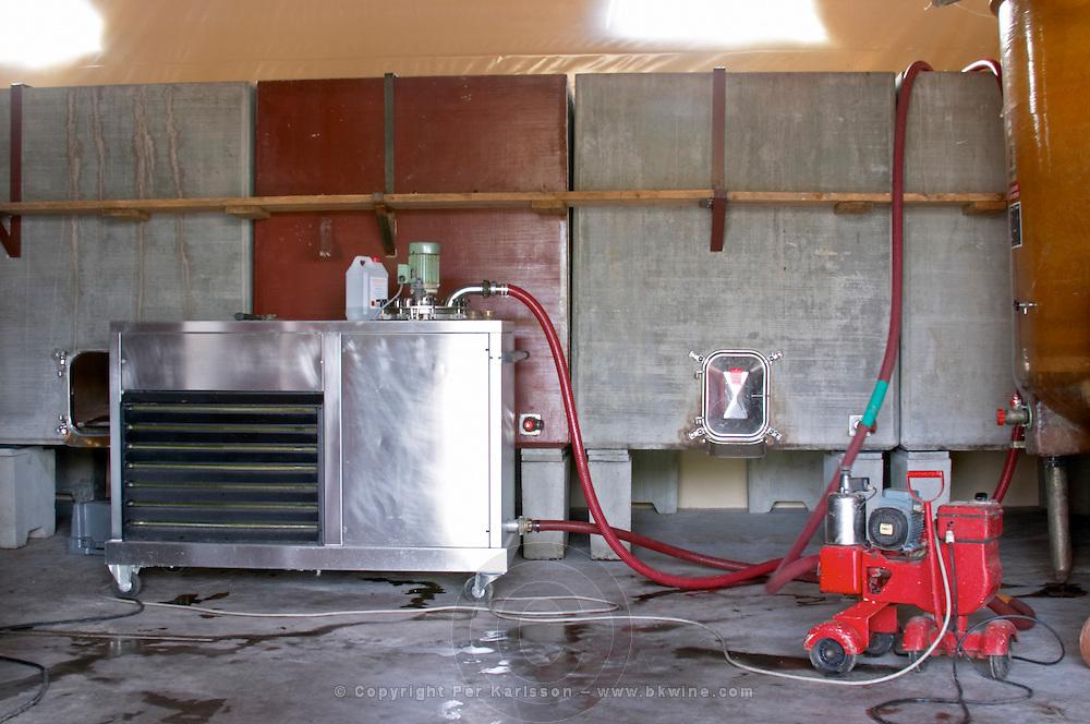 cooling unit and concrete tanks domaine gachot-monot nuits-st-georges cote de nuits burgundy france