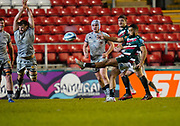 Sale Sharks flanker Sam Dugdale attempts to charge down a kick from  Leicester Tigers fly-half Zack Henry during a Gallagher Premiership Round 7 Rugby Union match, Friday, Jan. 29, 2021, in Leicester, United Kingdom. (Steve Flynn/Image of Sport)