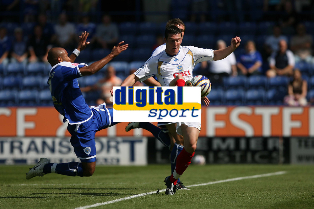 Photo: Pete Lorence.<br />Leicester City v Portsmouth. Pre Season Friendly. 04/08/2007.<br />James Chambers and David Nugent battle for the ball.