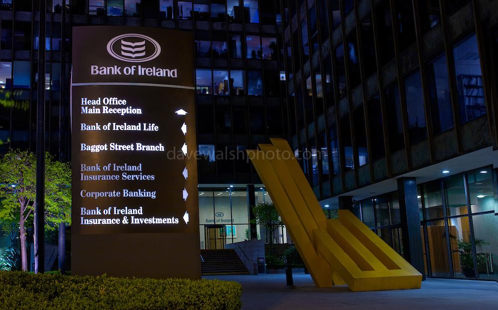 Bank of Ireland Headquarters, Baggot Street, Dublin. The bank received a 3.5 billion euro Irish government bailout following the 2008 financial crisis.