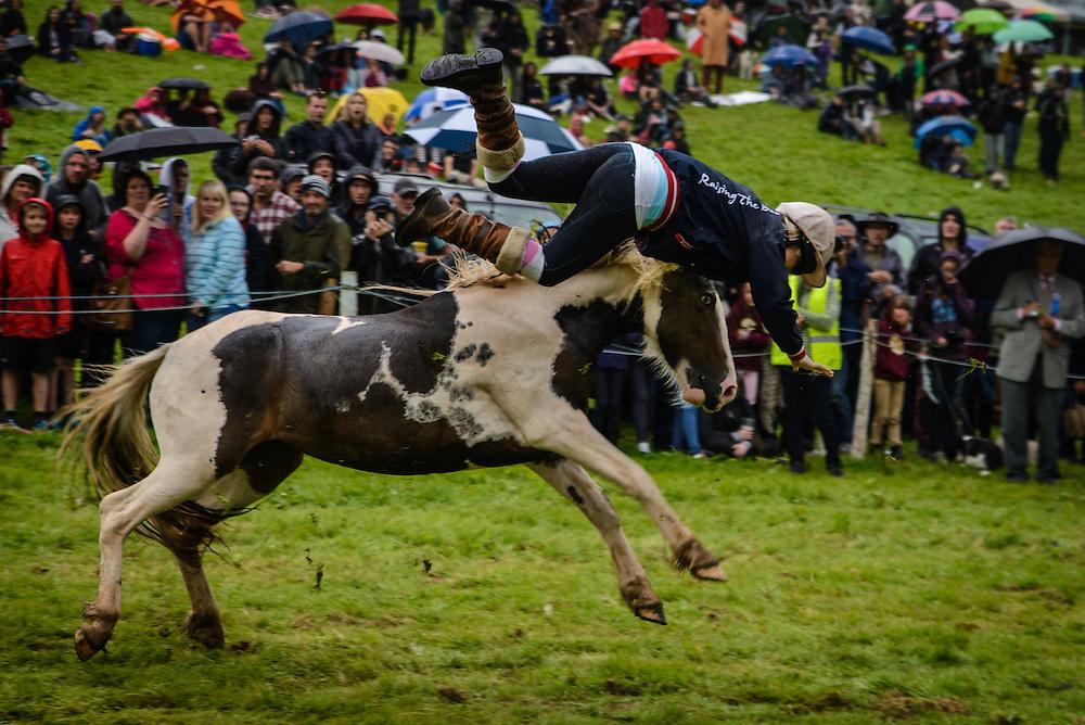 A rider flies through the air