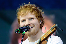 02 May 2015. New Orleans, Louisiana.<br /> The New Orleans Jazz and Heritage Festival. <br /> Ed Sheeran wows the Gentilly stage.<br /> Photo; Charlie Varley/varleypix.com