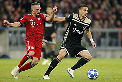 (l-r) Franck Ribery of FC Bayern Munchen, Dusan Tadic of Ajax during the UEFA Champions League group E match between Bayern Munich and Ajax Amsterdam at the Allianz Arena on October 02, 2018 in Munich, Germany