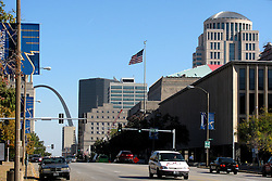 20 October 2010:  The Gateway Arch stands at the east end of Market Street and downtown St. Louis. St. Louis Missouri