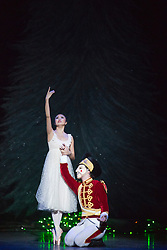 """© Licensed to London News Pictures. 10/12/2013. London, England. Picture: Shiori Kase as Clara and Nathan Young as The Nutcracker. Final working stage rehearsal of """"Nutcracker"""" at the London Coliseum. Choreography by Wayne Ealing with music by Pyotr Ilyich Tchaikovsky. Photo credit: Bettina Strenske/LNP"""