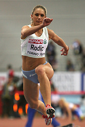 Slovenian triple  jump athlete Snezana Rodic in the Qualification when she qualified for finals at the 1st day of  European Athletics Indoor Championships Torino 2009 (6th - 8th March), at Oval Lingotto Stadium,  Torino, Italy, on March 6, 2009. (Photo by Vid Ponikvar / Sportida)