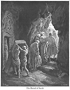 The Burial of Sarah Genesis 23:19 From the book 'Bible Gallery' Illustrated by Gustave Dore with Memoir of Doré and Descriptive Letter-press by Talbot W. Chambers D.D. Published by Cassell & Company Limited in London and simultaneously by Mame in Tours, France in 1866