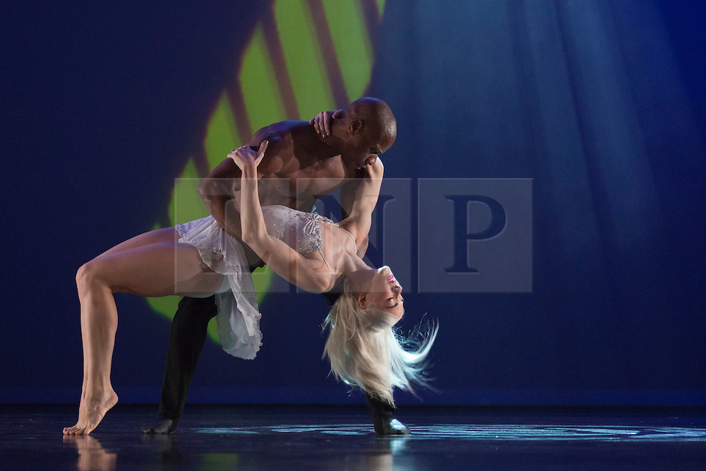 """© Licensed to London News Pictures. 12/06/2014. London, England. James Boyd and Adrienne Canterna performing. Rasta Thomas' """"Rock the Ballet"""" starring the Bad Boys of Dance makes its London debut at the Peacock Theatre. """"Rock the Ballet"""" is a fusion of classical ballet techniques belnded with musical theatre, hip hop and acrobatics. The show is danced to some of rock and pop's biggest hits. Choregraphed and danced by Adrienne Canterna with """"The Bad Boys of Dance"""" James Boyd, Robbie Nicholson, Tim Olson, Lee Gumbs, Blake Zelesnikar and Joshua Alexander. At the Peacock Theatre from 10 to 28 June 2014. Photo credit: Bettina Strenske/LNP"""