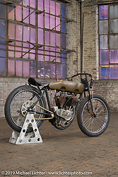 Freddie Bollwage's 1918 J Harley-Davidson Sons Of Speed board track racer built by Billy Lane and raced by Rhett Rotten in Daytona. At the Congregation Show. Charlotte, NC. USA. Saturday April 14, 2018. Photography ©2018 Michael Lichter.