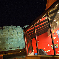 123113  Adron Gardner/Independent<br /> <br /> Café Da'a'so glows from the windows of the Navajo Nation Museum in Window Rock Dec. 31, 2013.