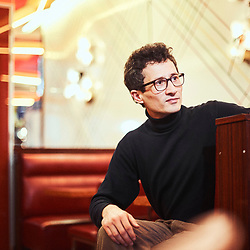 "Alexandre Brandy, author / writer (""Il y a longtemps que je mens""), posing in Le Rouquet, a cafe in the Saint-Germain neighborhood. Paris, France. January 23, 2018.<br /> Alexandre Brandy, auteur et ecrivain (""Il y a longtemps que je mens""), pose au Rouquet, un cafe dans le quartier Saint-Germain. Paris, France. 23 janvier 2018."