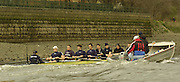2005 Varsity Boat Race. Tideway Week, Putney, London, ENGLAND. Friday, Oxford training session..Oxford Blue Boat, paddles along the Harrods depository, wall during their morning coaching outing...OUBC Crew  right to left - Bow. Robin Bourne-Taylor, 2. Barney Williams, 3. Peter Reed, 4. Joe Von Maltzahn, 5. Chris Liwski, 6. Mike Blomquist, 7. Jason Flickinger, stroke, Andy Twiggs-Hodge, cox Acer Nethercott. .Photo  Peter Spurrier. .email images@intersport-images....[Mandatory Credit Peter Spurrier/ Intersport Images]