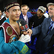"""Kanat """"QazaQ"""" Islam of Almaty, Kazakhstan speaks to the media after defeating Noroberto """"Demonio"""" Gonzalez of Monterrey, Mexico to win the NABO Jr. Middle Weight Title during a Nelsons Promotions boxing match at the Boca Raton Resort  and Club on Friday, May 26, 2017 in Boca Raton, Florida.  (Alex Menendez via AP)"""