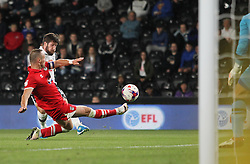 Jacob Butterfield of Derby County (R) has a shot at goal - Mandatory by-line: Jack Phillips/JMP - 09/08/2016 - FOOTBALL - iPro Stadium - Derby, England - Derby County v Grimsby Town - EFL Cup First Round