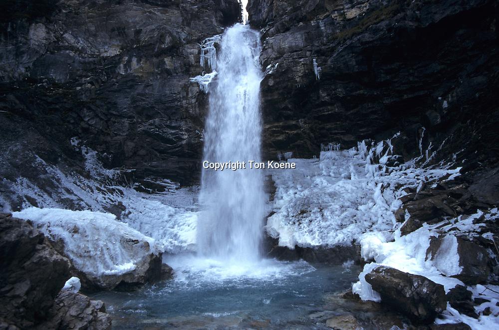 frozen waterfall in tajikistan