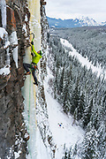 Raphael Slawinski on the first ascent of Te Quiero Puta! Evan-Thomas Creek, Kananaskis Country, Canada.