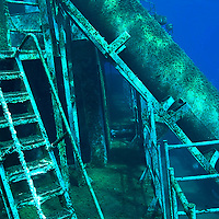 Port side, main deck, looking from bow to stern, USS Kittiwake