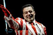 """20150214/ Javier Calvelo/ URUGUAY/ MONTEVIDEO/ Velodromo Municipal - Tablado del Velodromo/  El Carnaval en Uruguay es una fiesta popular de carácter nacional que se realiza todos los años entre mediados de enero y finales de febrero y combina festividades tanto de origen europeo como africano.  En el Tablado del Velodromo se presentaron: Zíngaros (Parodistas).<br /> En la foto:   Ariel """"Pinocho"""" Sosa en Parodistas Zíngaros en el tablado del Velodromo Municipal. Foto: Javier Calvelo / adhocFOTOS"""