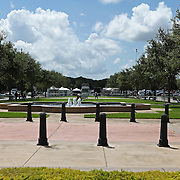 The area in the front courtyard where picketers were expected to rally remains empty as George Zimmerman's trial in the shooting death of Trayvon Martin gets underway at the Seminole County Criminal Justice Center on Monday, June 24, 2013 in Sanford, Florida. (AP Photo/Alex Menendez)