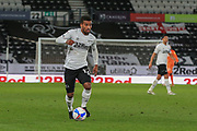 Nathan Byrne of Derby County (12) on the ball during the EFL Sky Bet Championship match between Derby County and Cardiff City at the Pride Park, Derby, England on 28 October 2020.