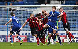 Lee Erwin of Oldham Athletic challenges Jack Grimmer of Shrewsbury Town - Mandatory by-line: Matt McNulty/JMP - 03/09/2016 - FOOTBALL - Sportsdirect.com Park - Oldham, England - Oldham Athletic v Shrewsbury Town - Sky Bet League One