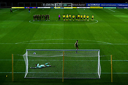 Josh Hare of Bristol Rovers scores his penalty in the shootout - Mandatory by-line: Robbie Stephenson/JMP - 06/10/2020 - FOOTBALL - Kassam Stadium - Oxford, England - Oxford United v Bristol Rovers - Leasing.com Trophy