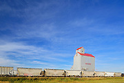 """Grain elevator, train and truck. This is the town of Dog River in TV series """"Corner Gas"""".<br /> Rouleau<br /> Saskatchewan<br /> Canada"""